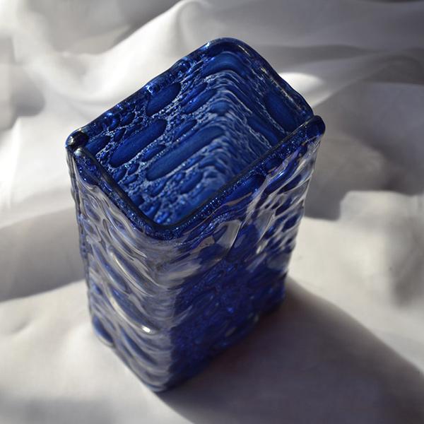Bigone Flower Vase 20 Cm Czech Dark Blue Navy Blue Square Square