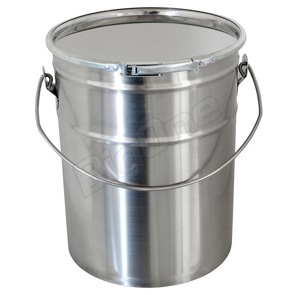 ペール缶 ステンレス 製 20L ヘアライン仕上げ 無地 塗装無し 蓋 外 レバー ベルト 付き 【DC】