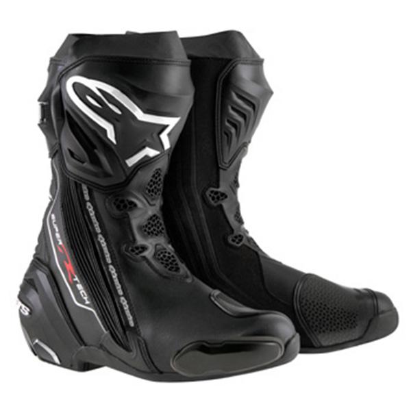 【ブーツ】【alpinestars】 SUPERTECH-R BOOT 0015 ブラック 黒 BLACK 42 (26.5cm) アルパインスターズ aスター エースター