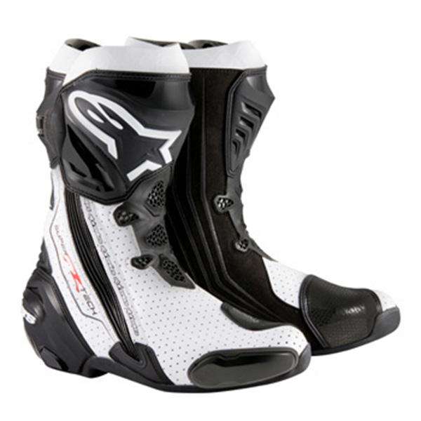 【ブーツ】【alpinestars】 SUPERTECH-R BOOT 0015 ブラック/ホワイト/ベンテッド BLACK/WHITE/VENTED 41 (26.0cm) アルパインスターズ aスター エースター