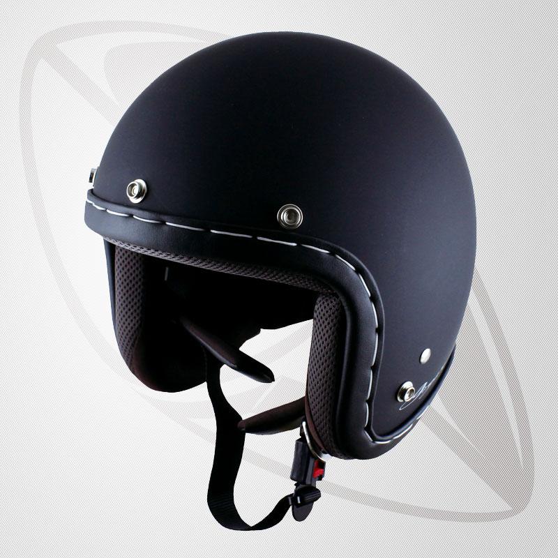 送料無料!【SG規格認定】【全排気量OK】ハンドメイドステッチジェット型ヘルメット Msd Black マッドブラック(BJS-65GX)スモールジェットヘル