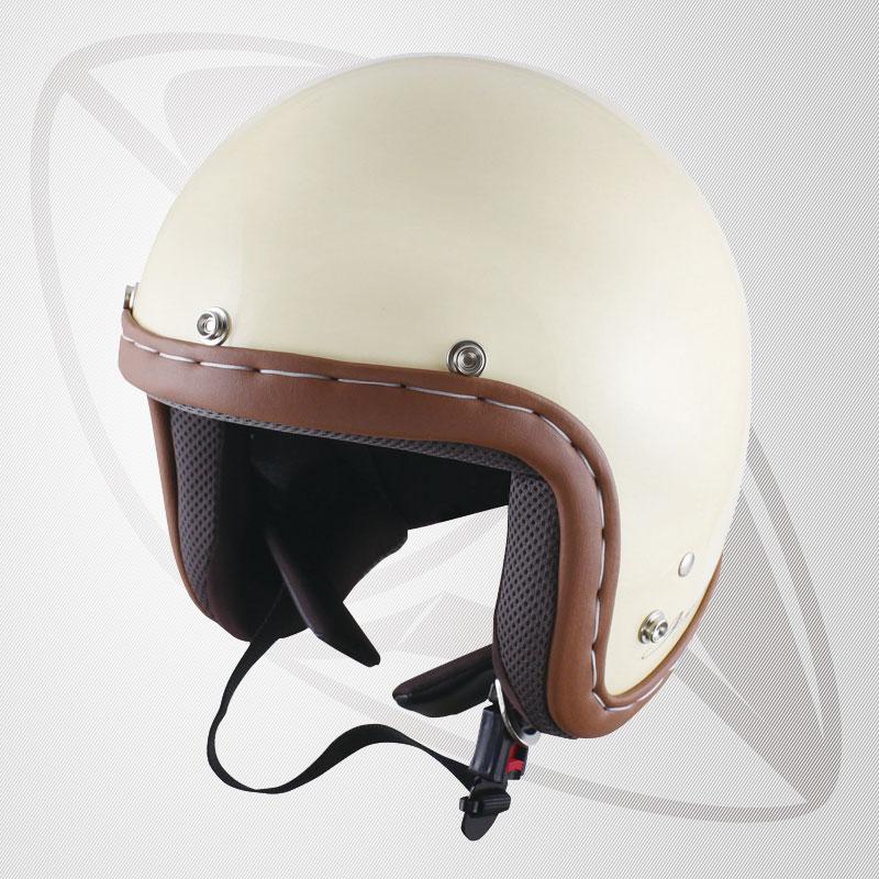 送料無料!【SG規格認定】【全排気量OK】ハンドメイドステッチジェット型ヘルメット IV アイボリー(BJS-65GX)スモールジェットヘル