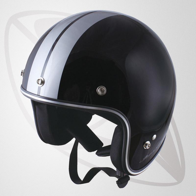 送料無料!【SG規格認定】【全排気量OK】Bigサイズ コンパクトなフォルム ジェット型ヘルメット ブラック/シルバー(BJS-65GXa)スモールジェットヘル