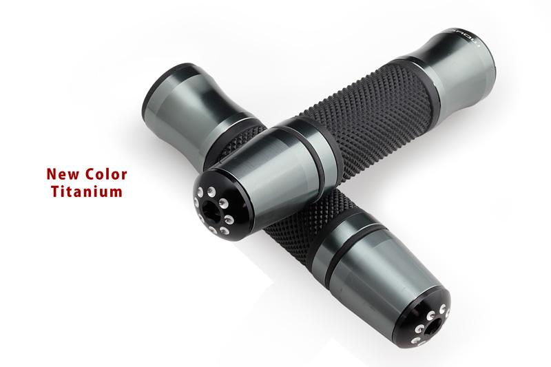 アルミとラバーのコンビネーション! アルミ バイク用 グリップ アルマイトコーティング Slider Grip アルミ スライダー グリップ 汎用 直径22.2mmほとんどの国産車輸入車に適合! 送料無料