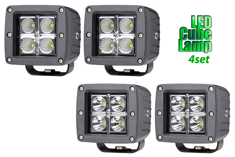 LED ランプ フォグランプ 4灯セット 16W コンパクト キューブランプ(10V~32V)(ワークランプ・作業灯・フォグランプ)バイクやオフロード車・フォークリフト・ブルドーザー・ラッセル車・除雪車・船・クレーン車・積車等に使えます。送料無料