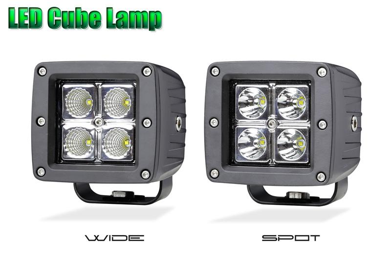 LEDワークランプ 16W キューブランプ(10V~32V)(作業灯・フォグランプ)バイク・オフロード車・フォークリフト・ブルドーザー・ラッセル車・除雪車・船・クレーン車・積車等に。(2灯セット)