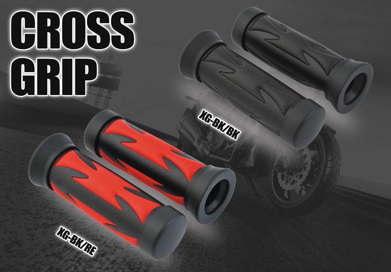 カスタム世界をリードする、ブラックメタル新登場 CROSS GRIP クロスグリップ クロスデザイン×ブラックメタル(汎用)直径22.2mmほとんどの国産車・輸入車に適合!