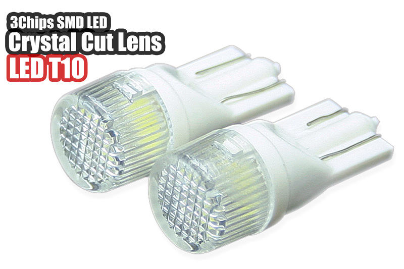 即納送料無料! クリスタルカットレンズで広範囲に拡散します LED T10 ウェッジ球 クリスタルカットレンズ ホワイト or ブルー 高輝度3素子SMD エスティマ ハイエース リフレクターレンズを採用 BIGROW 明るく広がる光を実現 人気 アルファード ベルファイア 送料無料