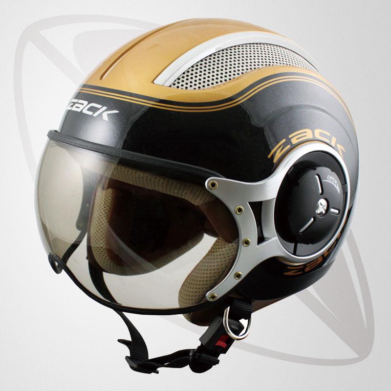 【SG規格認定】【全排気量OK】【Lサイズ/XLサイズ】ジェット型ヘルメット ブラック/ゴールド(bzq-8)スモールジェットヘル