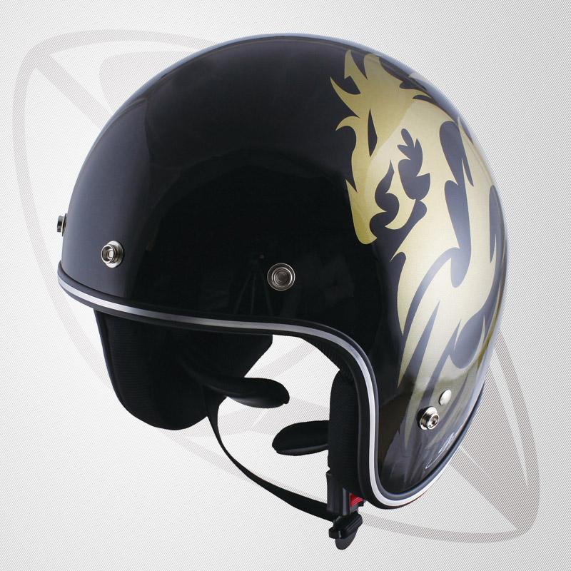 【SG規格認定】【全排気量OK】Bigサイズ コンパクトなフォルム ジェット型ヘルメット ブラック/ゴールド  DORAGON(BJS-65GXa)スモールジェットヘル