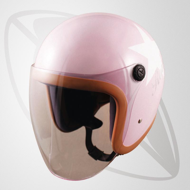 【SG規格認定】【全排気量OK】【キッズサイズ】ジェット型ヘルメット ピンクスター(brj-66)ジェットヘル 【サイズ 54~56cm】