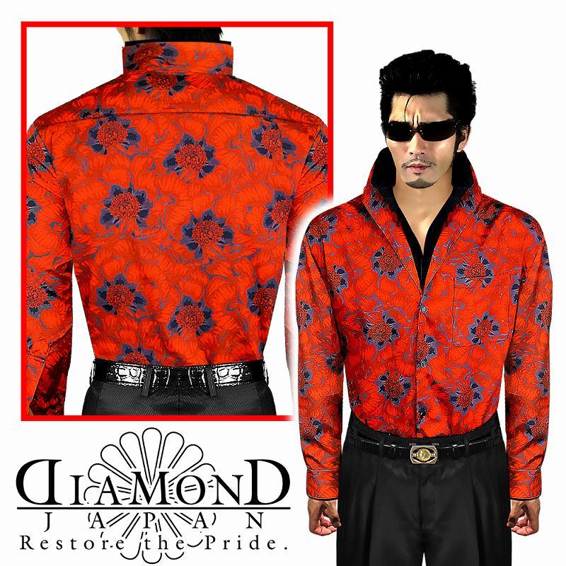花柄 スタンドカラードレスシャツ 赤 服 オラオラ系 悪羅悪羅系 ヤクザ ヤンキー チョイ悪 チョイワル 派手 メンズ ファッション