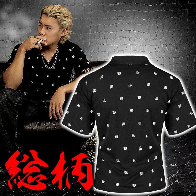総柄 半袖ポロシャツ 黒×白 服 オラオラ系 悪羅悪羅系 ヤクザ ヤンキー チョイ悪 チョイワル 派手 メンズ ファッション