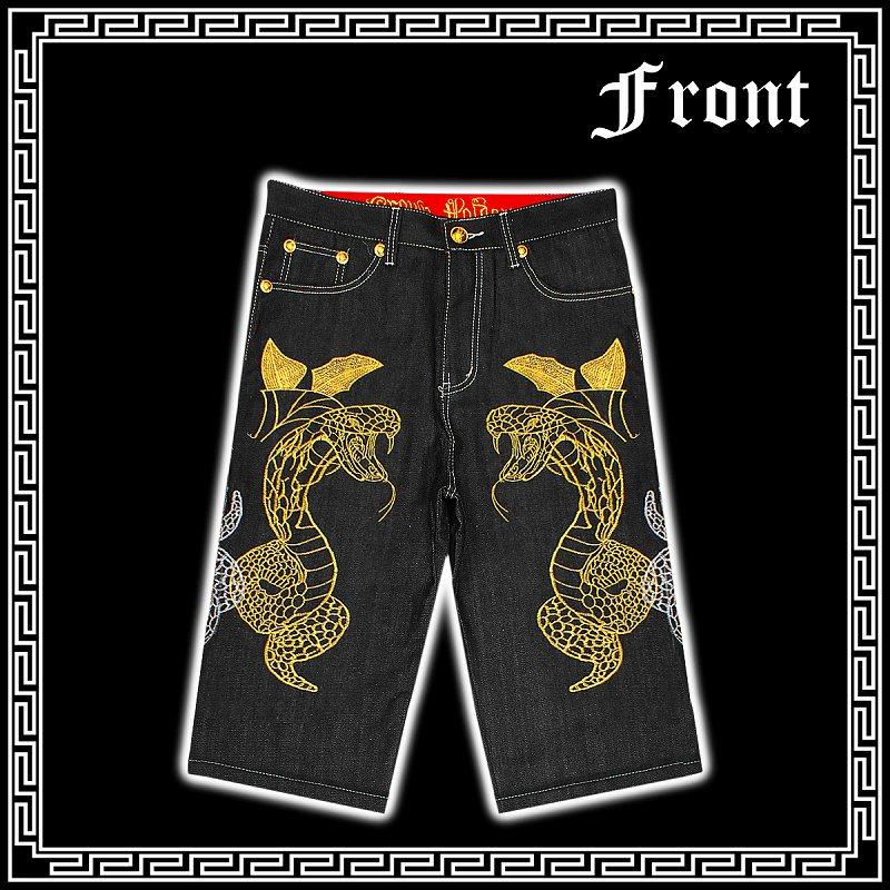 Jeans pants sex of evil-evil RA series Yakuza Yankee sex evil-evil Luo denim 28 B of HIPHOP series CROWN HOLDER Crown holder embroidery half dress pants