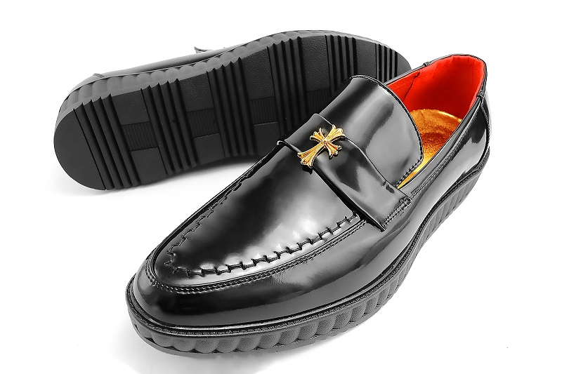Loafers cross studs black men sex of evil-evil Luo of Yakuza Yankee sex evil-evil Flash shoe-leather style 086