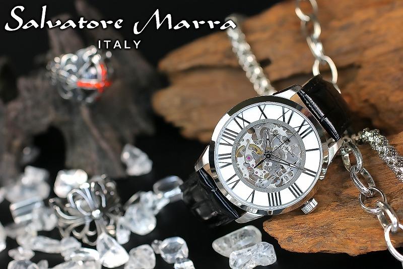 1年間保証付 サルバトーレマーラ Salvatore Marra 手巻き 腕時計 SM16101-SSWH メンズ ウォッチ 防水 ちょいワル オラオラ系 ヤクザ ヤンキー