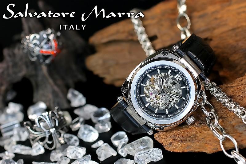 1年間保証付 サルバトーレマーラ Salvatore Marra 自動巻き 腕時計 SM18114-SSBK メンズ ウォッチ 防水 ちょいワル オラオラ系 ヤクザ ヤンキー