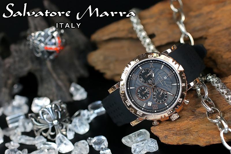 1年間保証付 サルバトーレマーラ Salvatore Marra クォーツ式 腕時計 SM19110-PGBK メンズ ウォッチ 防水 ちょいワル オラオラ系 ヤクザ ヤンキー