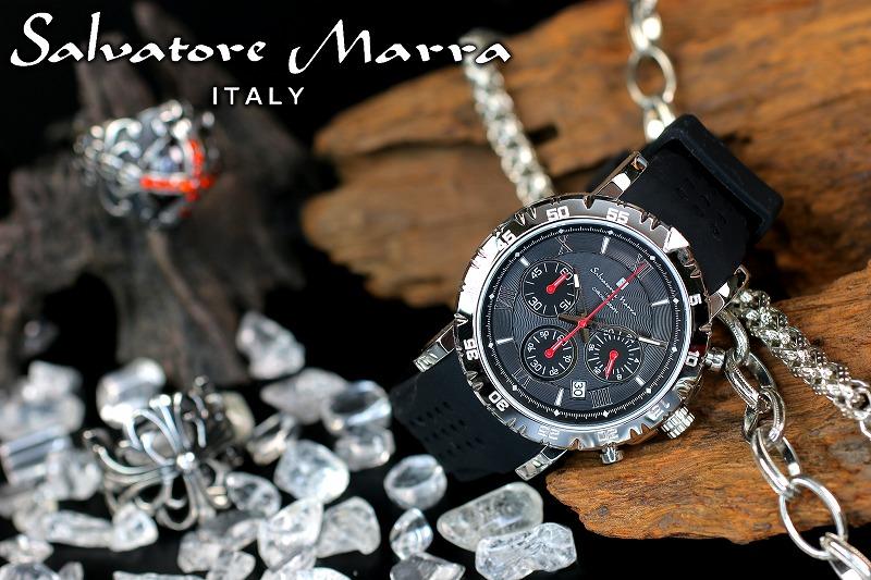 1年間保証付 サルバトーレマーラ Salvatore Marra クォーツ式 腕時計 SM19110-SSBK メンズ ウォッチ 防水 ちょいワル オラオラ系 ヤクザ ヤンキー