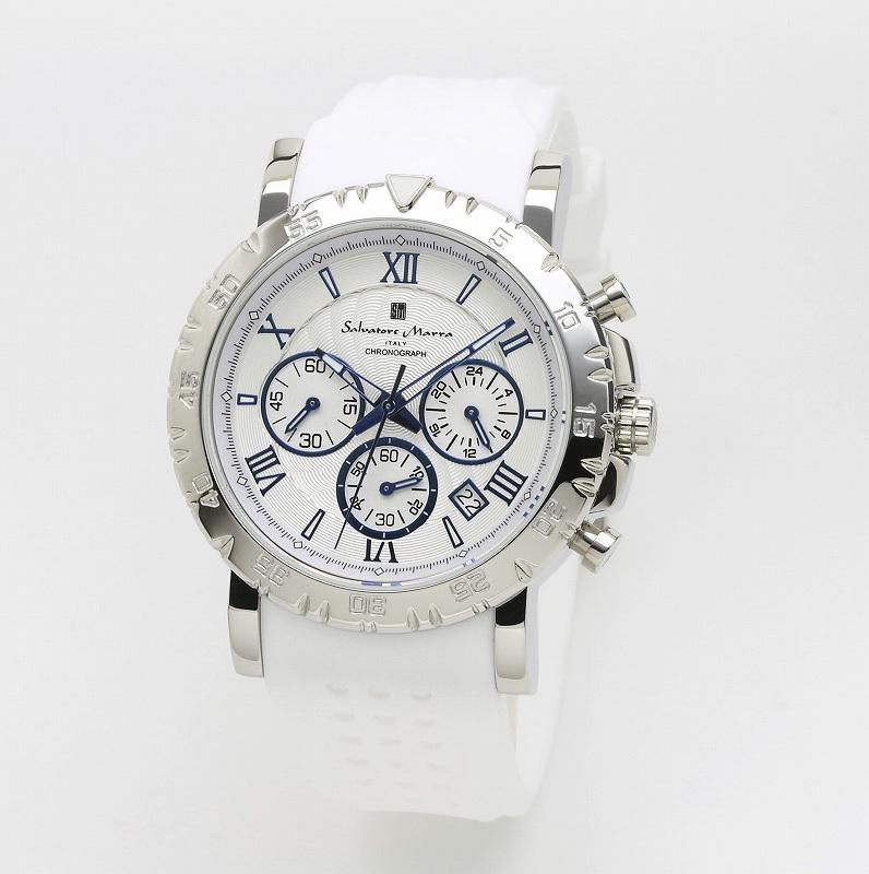 1年間保証付 サルバトーレマーラ Salvatore Marra クォーツ式 腕時計 SM19110-SSWH メンズ ウォッチ 防水 ちょいワル オラオラ系 ヤクザ ヤンキー