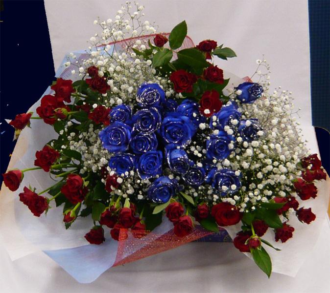 【ブルーローズ】【青いバラ】シルバーラメ ブルーローズ&赤バラ【誕生日花】【クリスマスギフト花】【記念日 花】