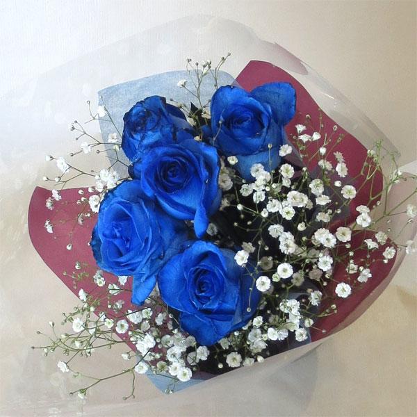 ブルーローズの花言葉:神の祝福 喝采 入手困難 舗 奇跡 ブルーローズ カスミソウ 青いバラ 5本