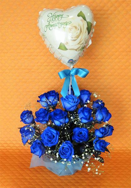 【バルーンフラワー】ブルーローズ 20本アレンジメント&選べるバルーン【送料無料】【記念日の花】【結婚のお祝い】【青いバラ】