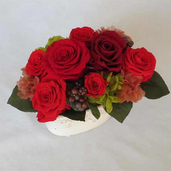 プリザーブドフラワー/レッドローズ アレンジメント【誕生日】【記念日の花】【還暦祝い】【結婚の御祝い】