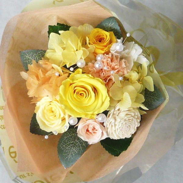 【プリザーブドフラワー 花束】プリザーブドフラワー/花束 レモンイエロー 【プリザーブド・フラワー】【誕生日 花】【結婚の御祝い】【プロポーズの花】