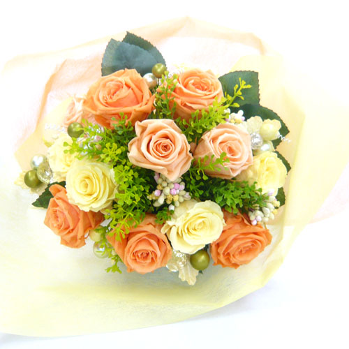 【プリザーブドフラワー 花束】オレンジ花束 【誕生日の花】【結婚の御祝い】【プロポーズの花】【退職祝い 花】