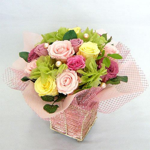 プリザーブドフラワー/ホワイトコイル ピンク&イエロー【プリザーブド・フラワー】