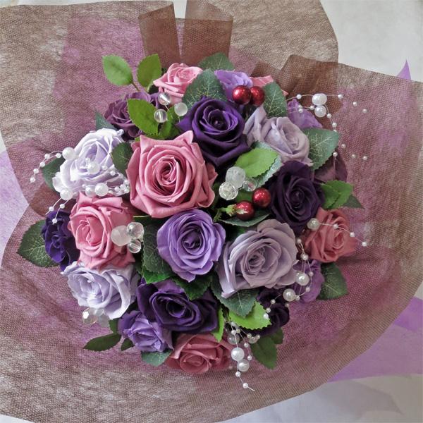 【プリザーブドフラワー 花束】ライラックパープル花束 L【父の日】【結婚の御祝い】【プロポーズの花】