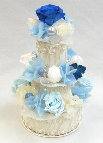 プリザーブドフラワー/ブルー3段フラワーケーキ  【誕生日】【結婚祝い】