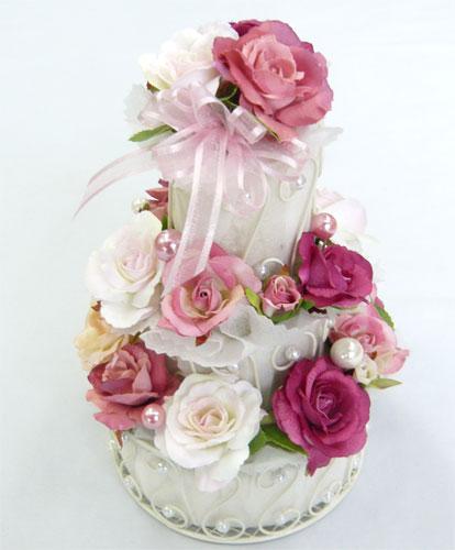 造花/ピンク3段 フラワーケーキ 【誕生日】【結婚祝い】【ケーキフラワー】