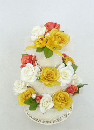 造花/ビタミンカラー 3段 フラワーケーキ 【誕生日】【結婚祝い】【ケーキフラワー】