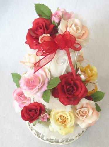 造花/カラフル 3段 フラワーケーキ 【誕生日】【結婚祝い】【ケーキフラワー】