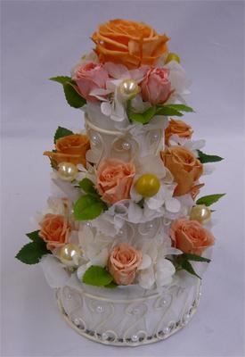 プリザーブドフラワー オレンジ3段 フラワーケーキ 【誕生日】【結婚祝い】