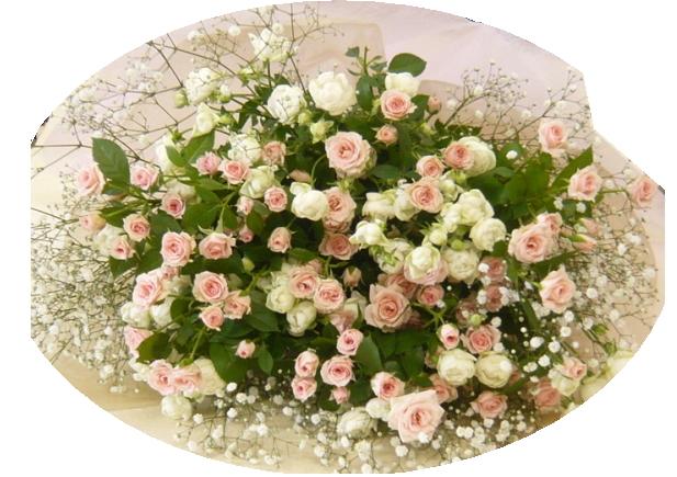 バラの花束/リディア&ウィット&カスミ草ブーケ