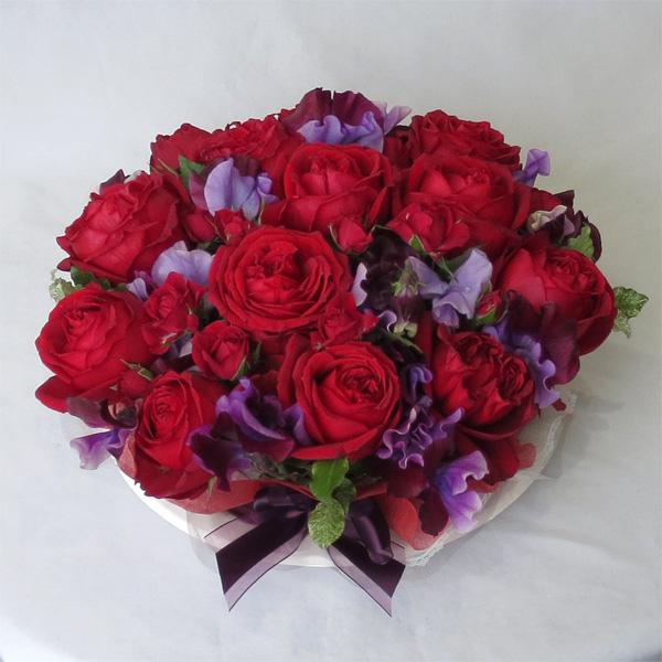 フラワーケーキLL/レッドローズ エレガント【クール便でお届け!】【誕生日花】【還暦祝い】【バレンタインギフト】