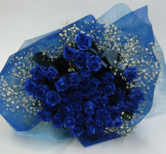 バラの花束/ブルーローズ60本【送料無料】…ブルーローズの花言葉:神の祝福、喝采、奇跡