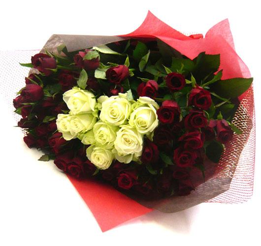 バラの花束/赤バラ50本&白バラ10本花束&ブーケ【誕生日花】【クリスマスギフト花】【記念日 花】