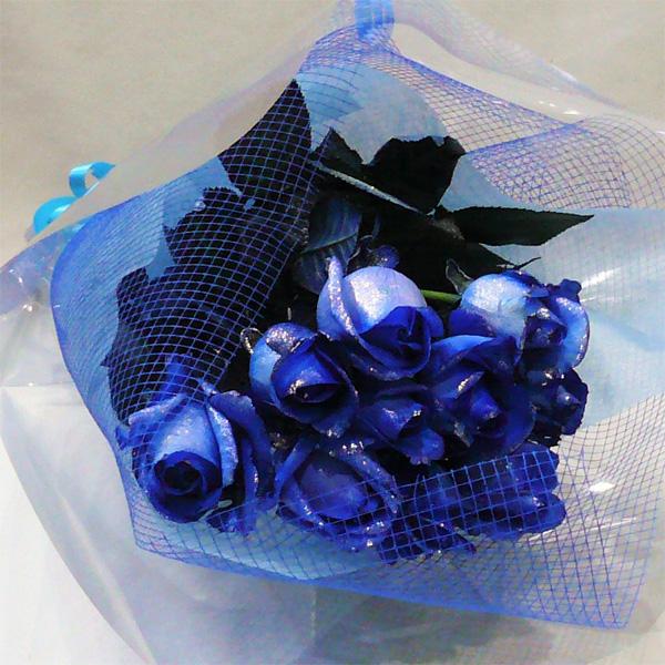 ラメ付きブルーローズ シルバーラメブルーローズ セール価格 青いバラ 10本 新作 大人気