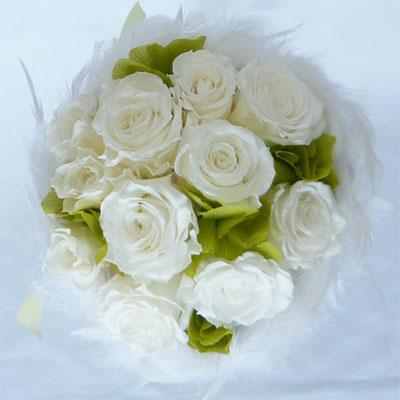 ブライダルブーケ プリザーブドフラワー ファーブーケ 28 ホワイトローズ&グリーンアジサイ【smtb-tk】