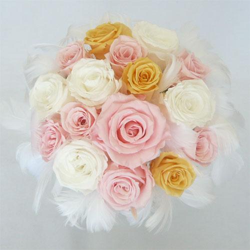 プリザーブドフラワー/ウエディングブーケ/ファーブーケ43 ピンク&オレンジ&ホワイト