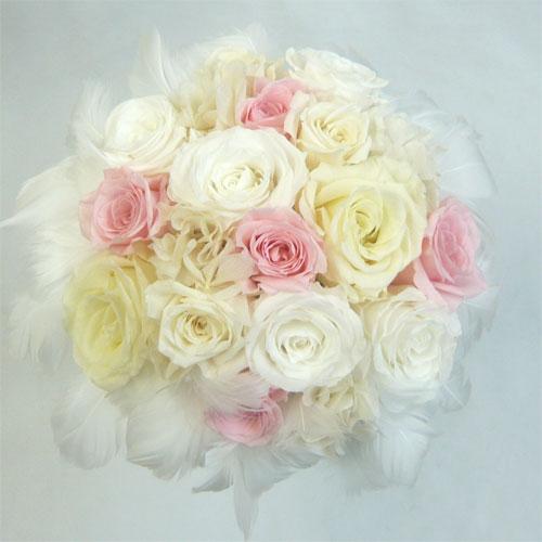 プリザーブドフラワー/ウエディングブーケ/ファーブーケ45 ホワイト&ピンク