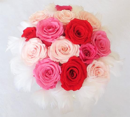 【ウエディングブーケ】【ブライダルブーケ】ファーブーケ 52 ピンク&レッド