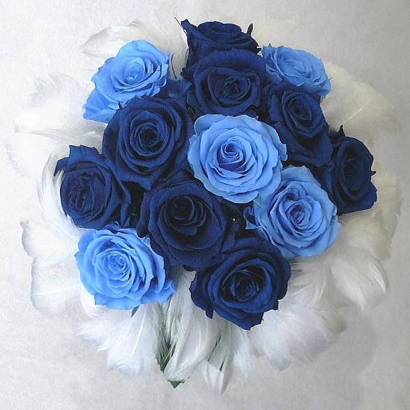 ウエディングブーケ/ブライダルブーケ/プリザーブドフラワー/ファーブーケ 18 ブルー・グランブルー
