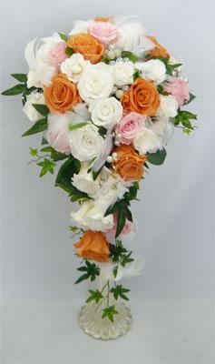 【ウエディングブーケ】プリザーブドフラワー 白バラ 水色 セミキャスケードブーケ【smtb-tk】