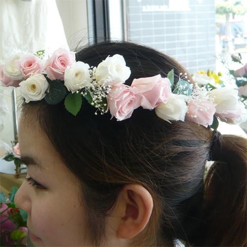 ウエディングブーケ/ブライダルブーケ/ヘッド花 ホワイト&ピンク 花かんむり