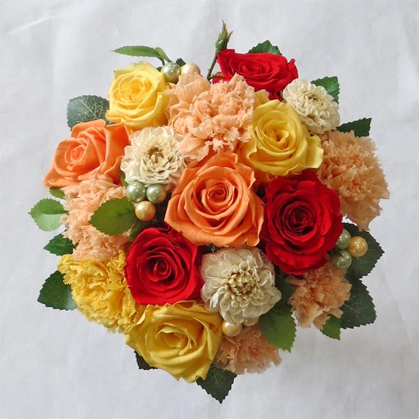 【ウエディングブーケ】【ブライダルブーケ】ダリアとバラのオレンジラウンドブーケ【smtb-tk】